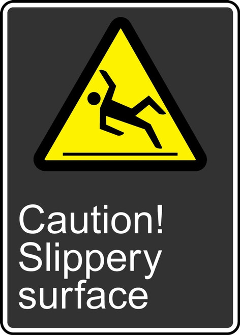 Caution Slippery Surface (Attention Surface Glissante) - Adhesive Vinyl - 14'' X 10''