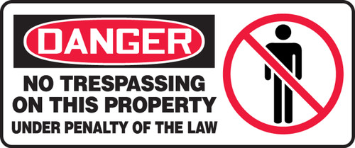 Danger - No Trespassing On This Property Under Penalty Of The Law (W/Graphic) - Adhesive Vinyl - 7'' X 17''