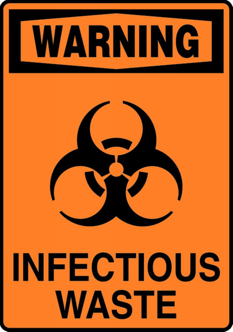 Warning - Infectious Waste (W/Graphic) - Dura-Plastic - 14'' X 10''