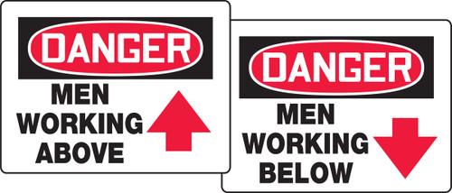 Danger Men Working Above / Danger Men Working Below Quik Sign Fold Ups Insert
