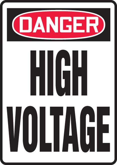 Danger - High Voltage - Adhesive Dura-Vinyl - 10'' X 7''