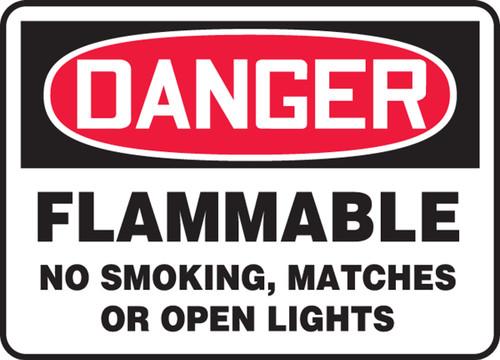 """Danger Flammable No Smoking, Matches Or Open Lights - Aluminum - 10"""" X 14"""""""