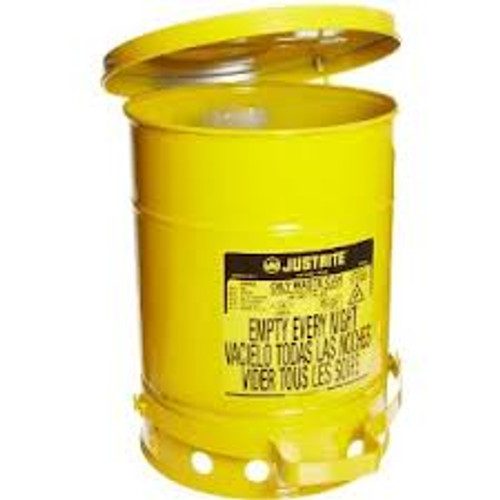 Oily Waste Can 10 Gallon Yellow w/ Foot Operated Cover