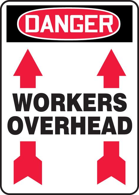 Danger - Workers Overhead (Arrow Up) - Adhesive Vinyl - 14'' X 10''