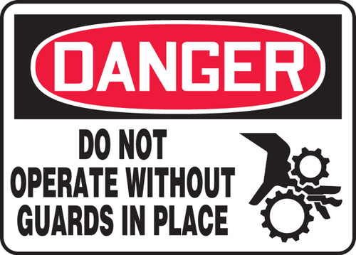 Danger - Do Not Operate Without Guards In Place (W-Graphic) - Adhesive Dura-Vinyl - 10'' X 14''