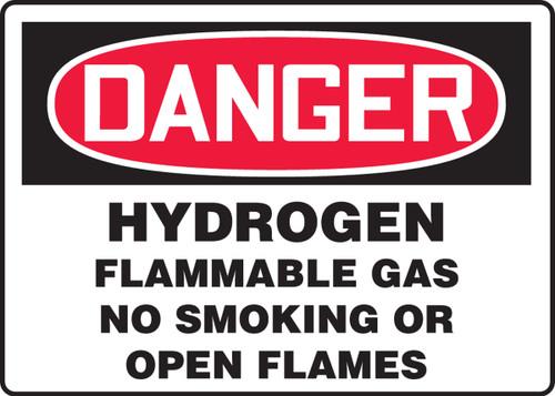Danger - Hydrogen Flammable Gas No Smoking Or Open Flames - Adhesive Dura-Vinyl - 7'' X 10''