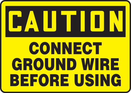 Caution - Connect Ground Wire Before Using - Plastic - 10'' X 14''