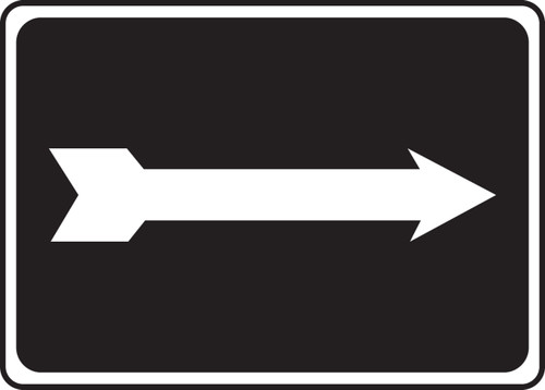 (Arrow - White On Black) - .040 Aluminum - 7'' X 10''
