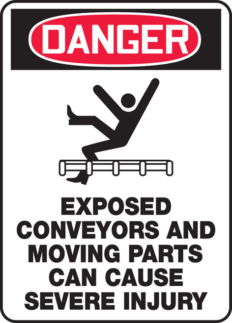 Danger - Exposed Conveyors And Moving Parts Can Cause Severe Injury - .040 Aluminum - 14'' X 10''