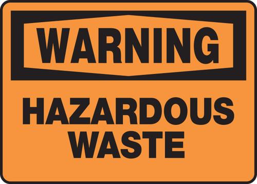 Warning - Hazardous Waste - Adhesive Vinyl - 10'' X 14''