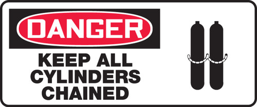 Danger - Keep All Cylinders Chained (W/Graphic) - Adhesive Vinyl - 7'' X 17''