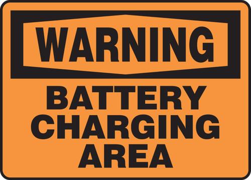 Warning - Battery Charging Area - Adhesive Dura-Vinyl - 10'' X 14''