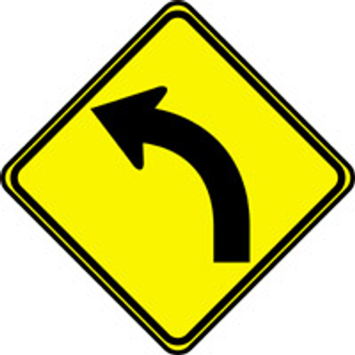 """Left Curve Arrow Pictorial Traffic Sign- 24"""" x 24"""""""