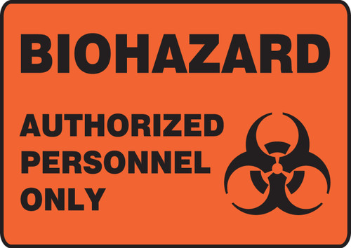 Biohazard Authorized Personnel Only (W/Graphic) - Adhesive Vinyl - 7'' X 10''