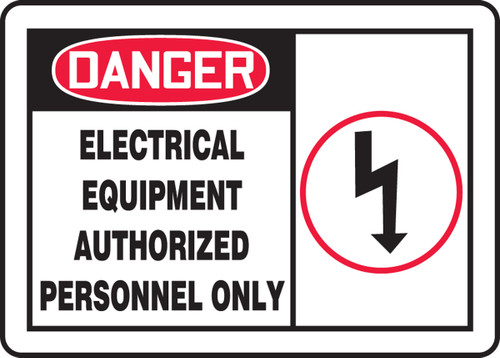 Danger - Electrical Equipment Authorized Personnel Only (W/Graphic) - Adhesive Vinyl - 10'' X 14''