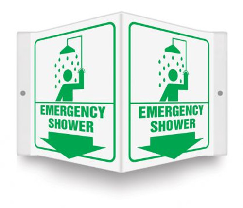 """Emergency Shower - 3D 6"""" x 5"""" - Safety Panel - Projection Sign"""