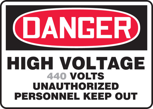 Danger - High Voltage ___ Volts Unauthorized Personnel Keep Out 1
