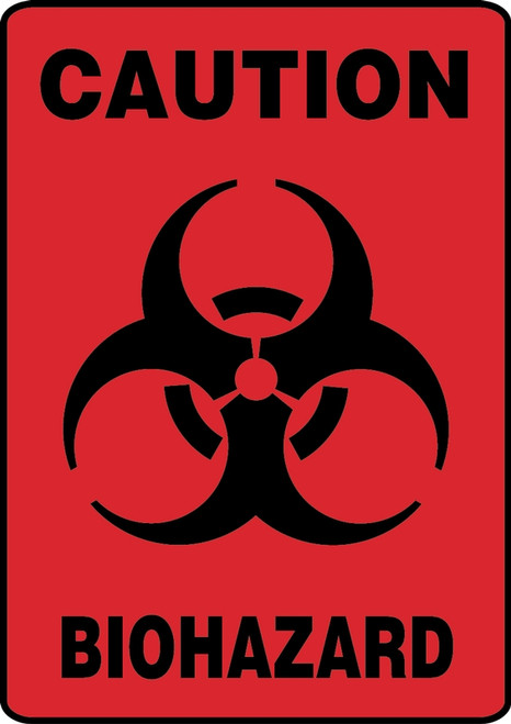 Caution Biohazard (W/Graphic) - Adhesive Vinyl - 10'' X 7''