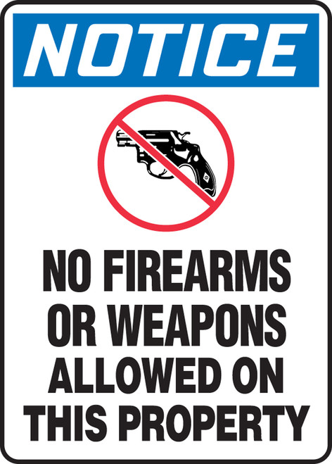 Notice - No Firearms Or Weapons Allowed On This Property (W/Graphic) - Adhesive Dura-Vinyl - 14'' X 10''