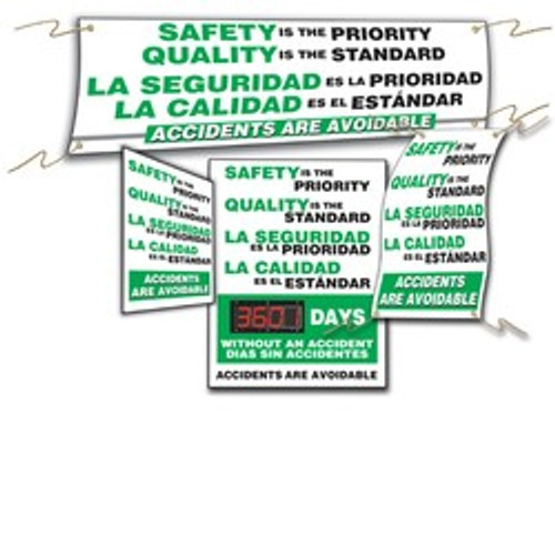Safety Awarness Banner Sets- Bilingual Spanish Safety Sign Set- 4 pc
