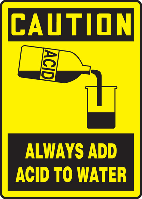 Caution - Always Add Acid To Water (W/Graphic) - Plastic - 14'' X 10''
