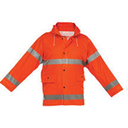 Reflective Rain Jacket Orange- Short- Large
