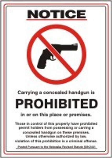 Notice Carrying A Concealed Handgun Is Prohibited In Or On This Place Or Premises.