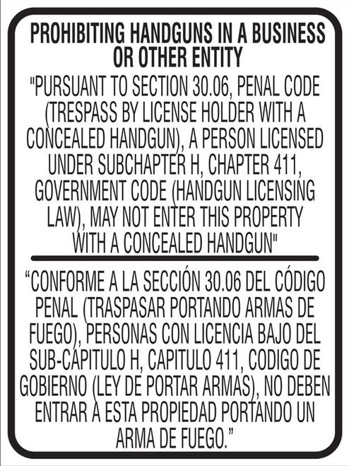 MACC528SB Texas Prohibiting Handguns in a Business Sign
