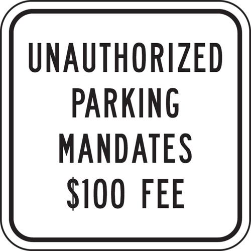 Unauthorized Parking Mandates $100 Fee (N. Dakota)