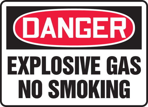 Danger - Explosive Gas No Smoking - Re-Plastic - 10'' X 14''