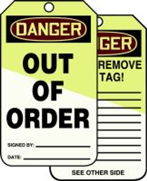 Danger Out Of Order Tag- Lumi Glow Tag