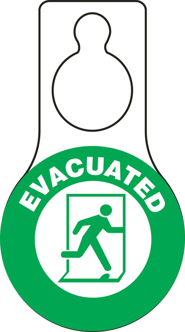 Evacuated Door Hanger Tag with Green background and graphic