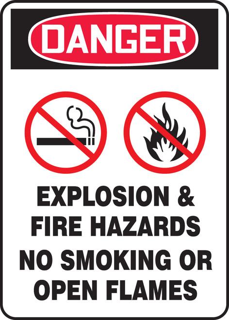 Danger - Danger Explosion & Fire Hazards No Smoking Or Open Flames W/Graphic - .040 Aluminum - 10'' X 7''