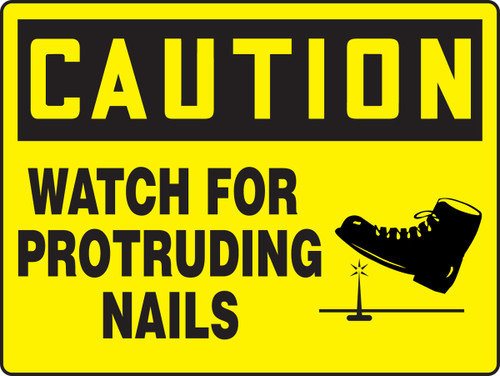 Caution - Watch For Protruding Nails (W-Graphic) - Dura-Fiberglass - 18'' X 24''