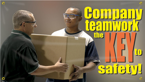 Motivational Safety Banner- Company Teamwork Is The Key To Safety!