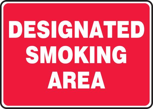 Designated Smoking Area (Wh/Rd) - Plastic - 7'' X 10''