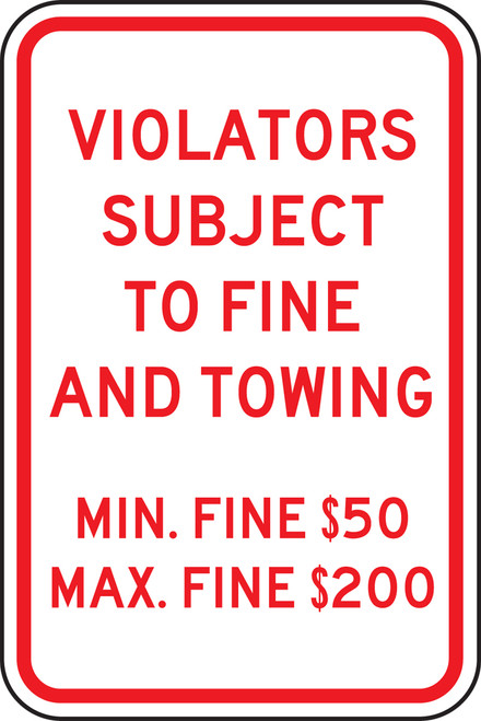 Pennsylvania Violators Subject To Fine And Towing Min. Fine $50 Max. Fine $200