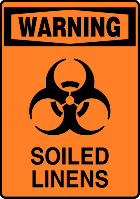 Warning - Soiled Linens (W/Graphic) - Plastic - 10'' X 7''