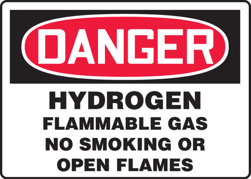 Danger - Hydrogen Flammable Gas No Smoking Or Open Flames - Aluma-Lite - 7'' X 10''