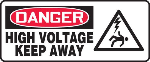 Danger - High Voltage Keep Away (W/Graphic) - Adhesive Dura-Vinyl - 7'' X 17''