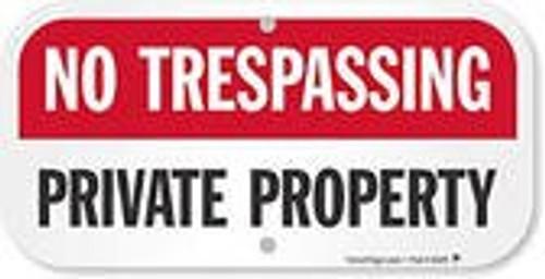 No Trespassing Private Road - Adhesive Dura-Vinyl - 12'' X 24''
