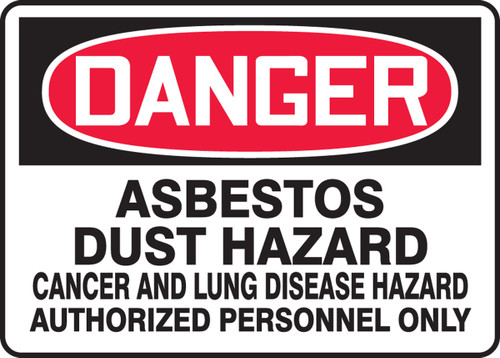 Danger - Asbestos Dust Hazard Cancer And Lung Disease Hazard Authorized Personnel Only
