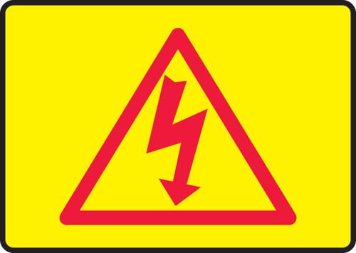 High Voltage Symbol  (Red On Yellow) - Adhesive Dura-Vinyl - 7'' X 10''