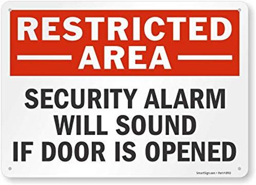 Security Alarm Will Sound If Door Is Opened - Re-Plastic - 10'' X 14''