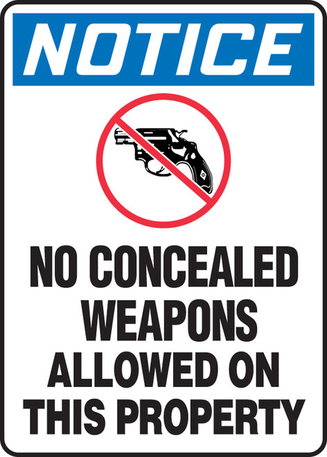 Notice - No Concealed Weapons Allowed On This Property (W/Graphic). - Adhesive Dura-Vinyl - 14'' X 10''