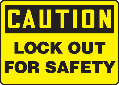 Caution - Lockout For Safety - Adhesive Vinyl - 7'' X 10''