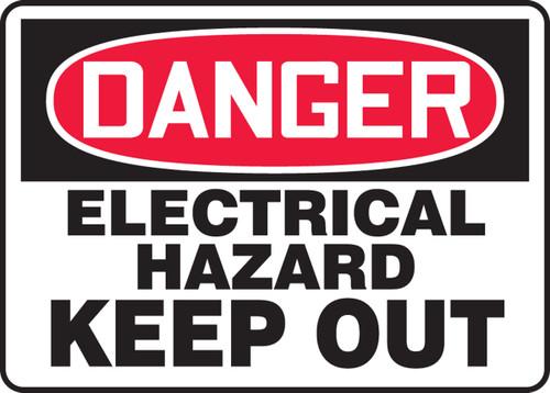 Danger - Electrical Hazard Keep Out - Adhesive Dura-Vinyl - 10'' X 14''