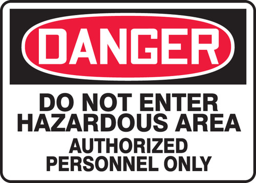 Danger - Do Not Enter Hazardous Area Authorized Persons Only
