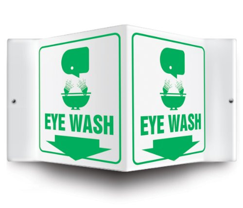 """Eyewash - 3D 6"""" x 5"""" - Safety Panel - Projection Sign"""