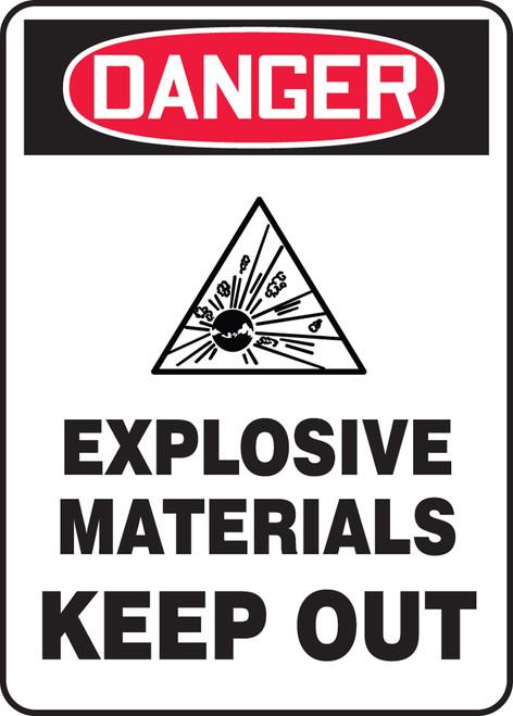 Danger - Danger Explosive Materials Keep Out W/Graphic - Dura-Plastic - 10'' X 7''
